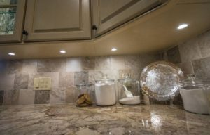 Tiled Backsplash with Puck Lighting