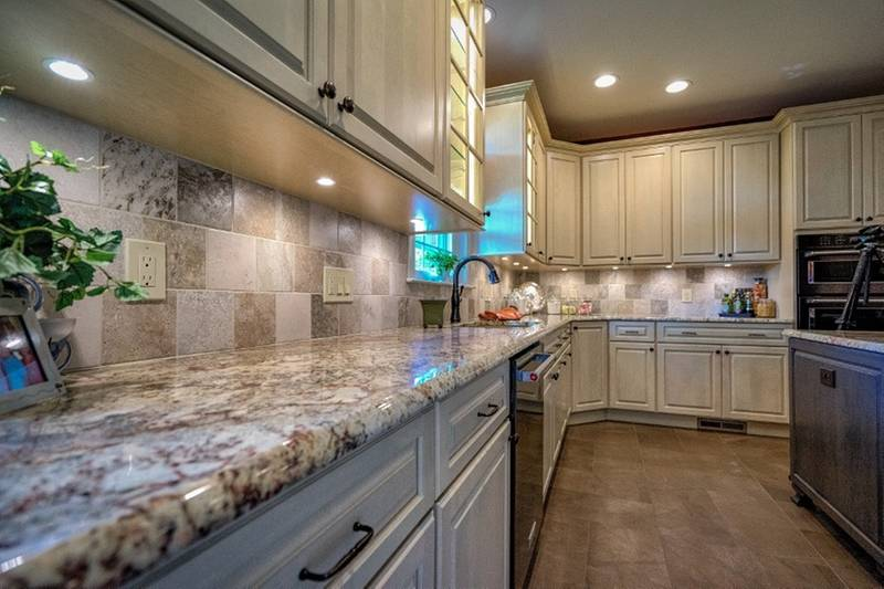 Kitchen Granite Tops and Custom Tile Flooring