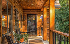Log Home Front Porch