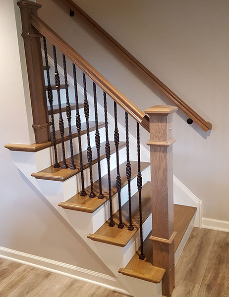 Custom Staircase, Oak, Bee-hive balusters